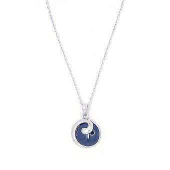 Ah! Jewellery Sterling Silver Blue Ceramic & Clear Crystals From Swarovski Necklace