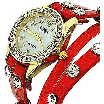 TOC Ladies Crystal Studded Extra Long Red Glitter Strap Fashion Watch SW1096