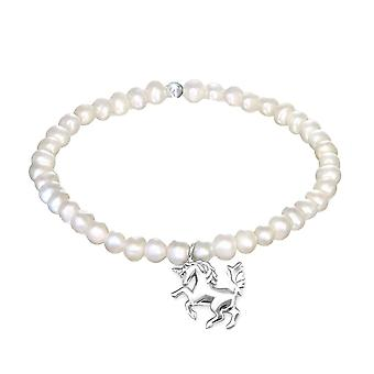 Silver Unicorn Cubic Zirconia and Fresh Water Pearl Bracelet
