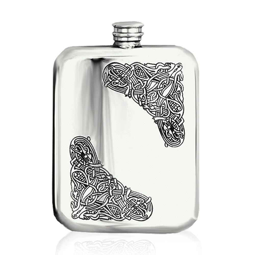 6oz Drostan Stamped Flask Pewter - Cel125