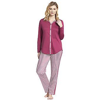 Rosch 1193517-16415 Women's Smart Casual Blush Pink Striped Mix Cotton Pyjama Set
