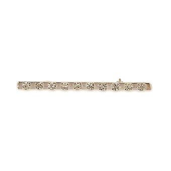 Shires Plated Stock Pin - Silver Bar With Diamante