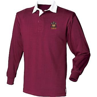 De Prins van Wales Leinster Regiment veteraan-gelicentieerd Britse leger geborduurd lange mouw rugby shirt
