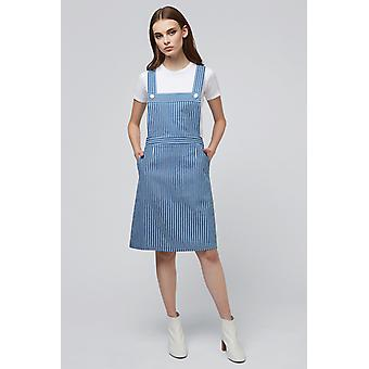 Louche Wallis Stripe Chambray Pinafore Dress Chambray