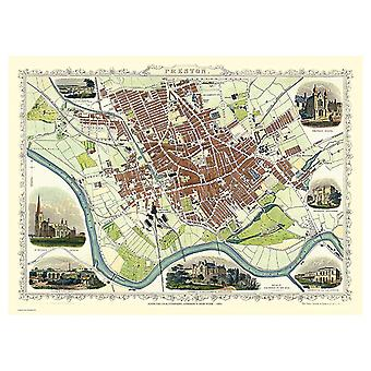 History Portal Preston 1851 Map John Tallis 1000 Piece Jigsaw 690mm x 480mm (jg)