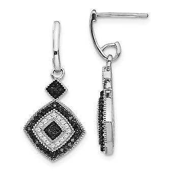 925 Sterling Silver Prong set Gift Boxed Post Earrings Rhodium-plated Black and White Diamond Earrings