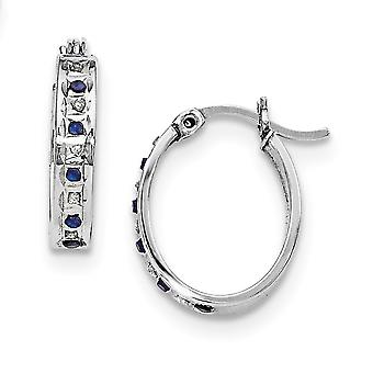 925 Sterling Silver Polished Gift Boxed Gemstone accent and Platinum-plated Dia. and Sapphire Oval Hinged Hoop Earrings