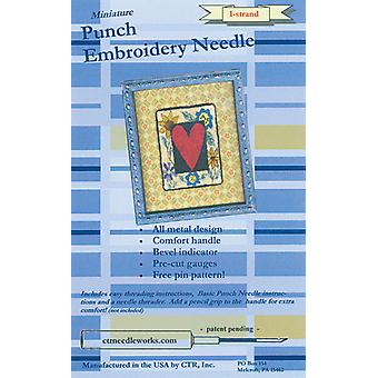 Miniature Punch Embroidery Needle Blue 1 Strand Ctr Ndl 1