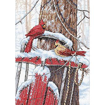 Cardinals On Sled Counted Cross Stitch Kit 10