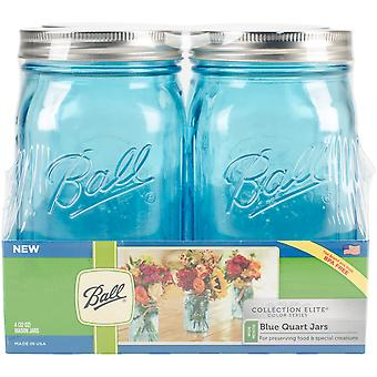 Ball (R) Wide Mouth Canning Jars 4/pkg-Quart - Elite Color Series Blue 69024