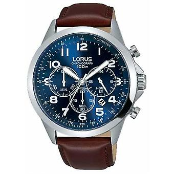 Lorus Mens Brown Leather Strap Blue Dial RT379FX9 Watch