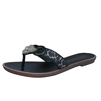 Grendha Exotic Thong Womens Flip Flops / Sandals - Black