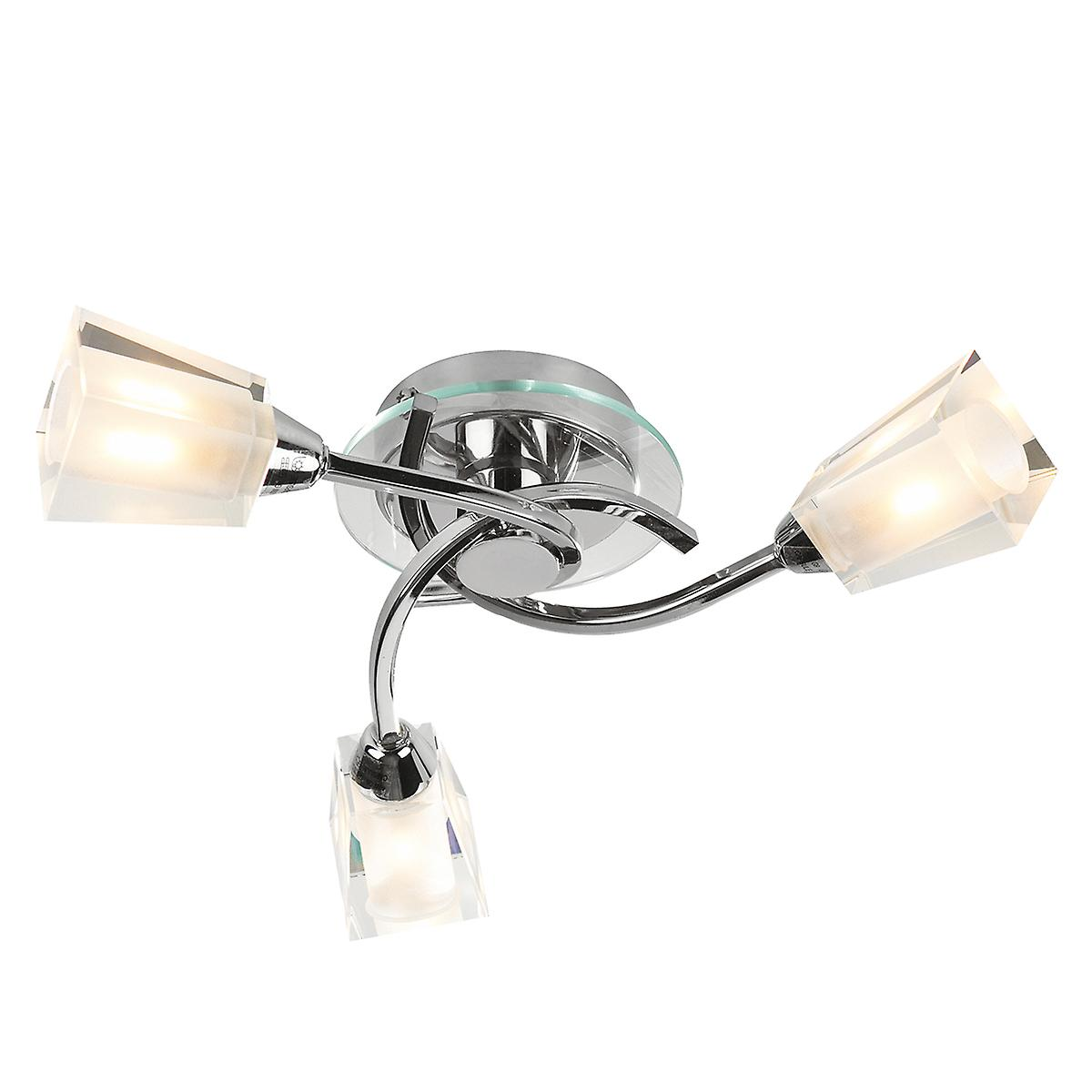Dar AUS0350 Austin Modern Chrome Flush Ceiling Light With Clear Frosted Glass