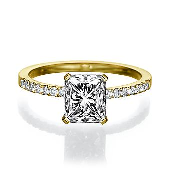 1 3/4 Carat H SI2 Diamond Engagement Ring 14k Yellow Gold Micro Pave Promise Ring Vintage Ring