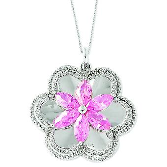 Sterling Silver Cubic Zirconia Pretty In Pink 18in Flower Necklace