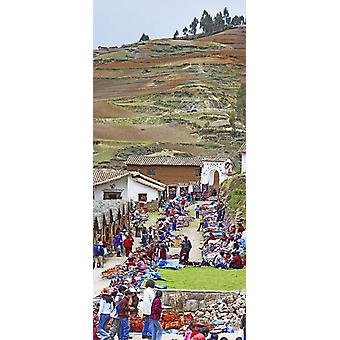 Group of people in a market Chinchero Market Andes Mountains Urubamba Valley Cuzco Peru Poster Print