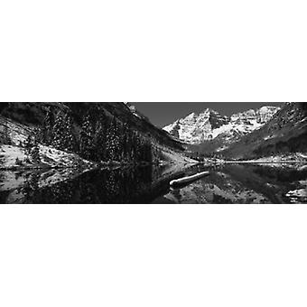 Reflection of a mountain in a lake Maroon Bells Aspen Pitkin County Colorado USA Poster Print