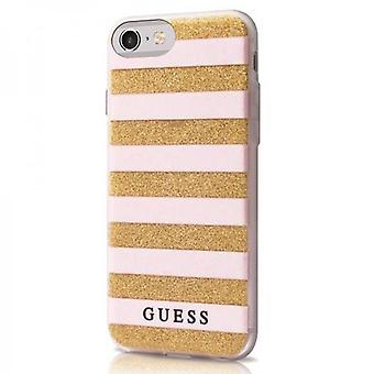 Guess stripes Hard Cover case beige/gold for Apple iPhone 6 / 6s