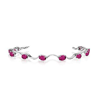 14K White Gold Oval Pink Topaz Curved Bar Bracelet