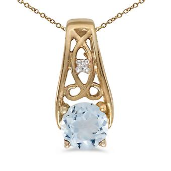 10k Yellow Gold Round Aquamarine And Diamond Pendant with 16