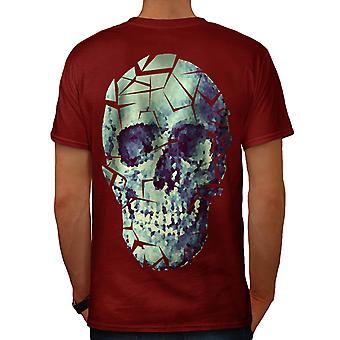 Glass Skull Shatter Evil Mask Men Red T-shirt Back | Wellcoda