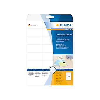 Labels transparent matt HERMA A4 70x37 mm 600 pcs.