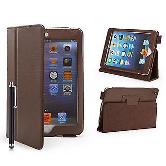 Book Leather Case Cover For Apple iPad Mini + stylus pen - Brown
