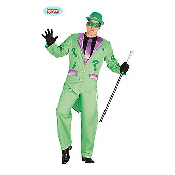 Mr. incognito green man suit with question mark and mask