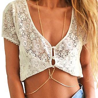 Boolavard® TM dame sexet mode guld krop mave talje kæde Bikini stranden sele halskæde