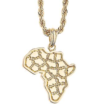 Iced out bling rope cord chain - Africa gold card