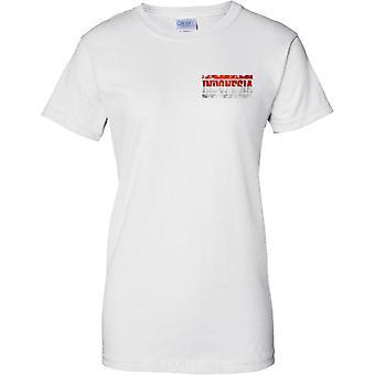 Efeito de bandeira nome Indonésia Grunge Country - senhoras peito Design t-shirt