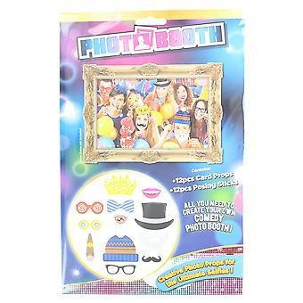 Photo Booth Adult Pack Of 12 Selfie Fun Party Props With Sticks
