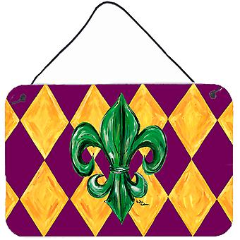 Mardi Gras Fleur de lis Purple Green and Gold Wall or Door Hanging Prints