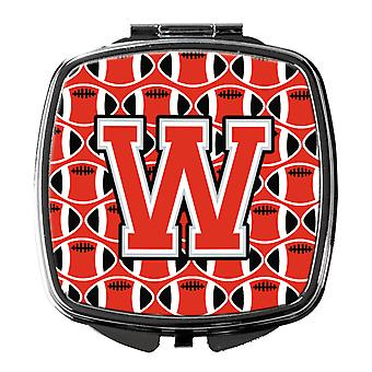 Letter W Football Scarlet and Grey Compact Mirror