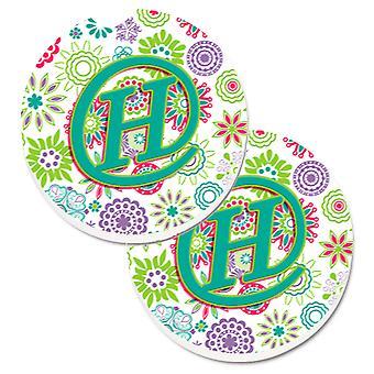 Litera H kwiaty różowy turkusowy zielony początkowy zestaw 2 szklanki posiadacz samochodu podstawki