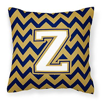 Letter Z Chevron Navy Blue and Gold Fabric Decorative Pillow