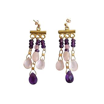 Gemshine - ladies - chandelier - earrings - gold plated - Amethyst - violet - Rose Quartz - pink - dripping - 4 cm