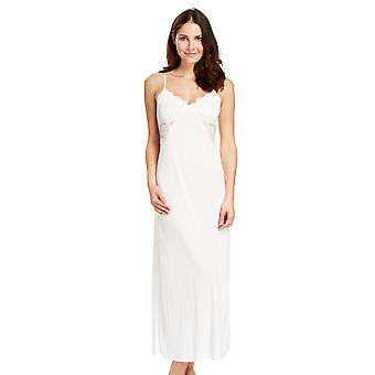 Feraud 3181002-11697 Women's Captains Dinner Ivory Micro Modal with Lace Floor Length Night Gown Loungewear Nightdress