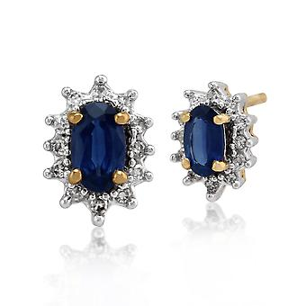 9ct Yellow Gold 0.60ct Sapphire & Diamond Oval Cluster Stud Earrings