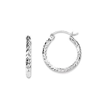 925 Sterling Silver Round Hoop Earrings - 16mm