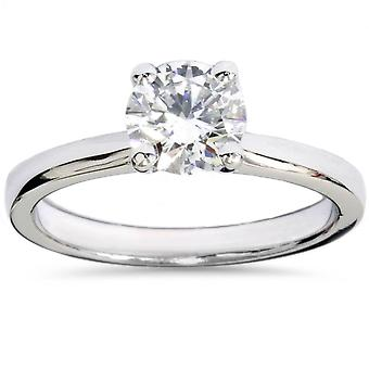 1ct Lab Grown Diamond Solitaire Engagement Ring 14k White Gold