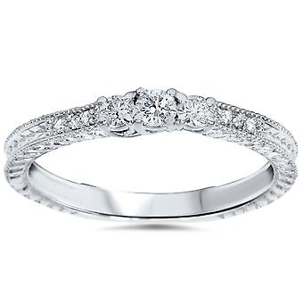 1 / 4ct Vintage drie steen ronde Diamond Engagement Ring 14K White Gold