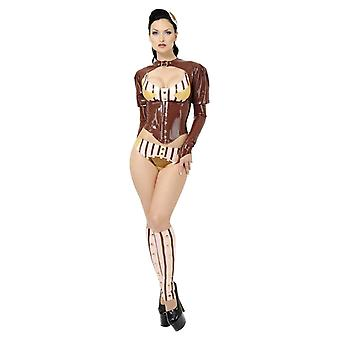 Westward Bound Absinthium Latex Rubber Top With Underbust Corset Front.