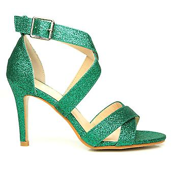SOPHIE Green Glitter Elegant Strappy High Heel Sandals