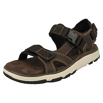 Mens Clarks Strapped Sandals Un Trek Bar - Olive Nubuck - UK Size 10.5G - EU Size 45 - US Size 11.5M