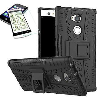 Hybrid Case 2teilig Schwarz für Sony Xperia XA2 Tasche Hülle + Hartglas