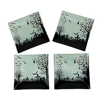 Set of 4 Spooky Bat and Cemetery Halloween Glass Plates