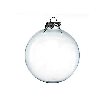 2 Giant Fillable 100mm Clear Glass Ball Christmas Bauble Ornaments