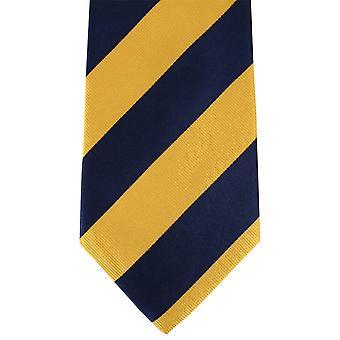 David Van Hagen Thick Striped Tie - Yellow/Navy