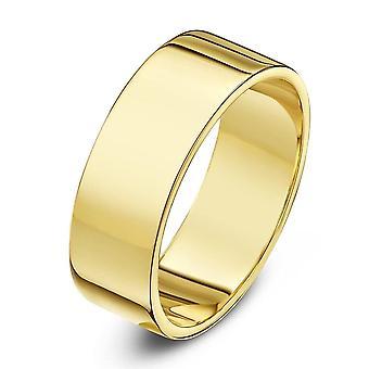 Sterne Trauringe 9ct Gelb Gold schweren flache Form 8mm Ehering
